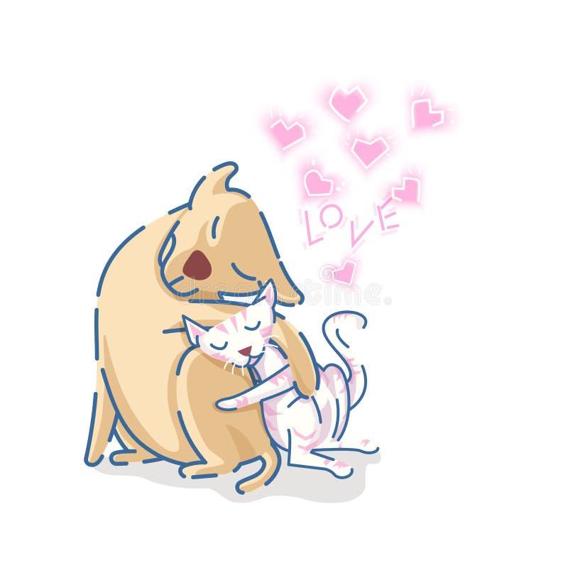 Το χαριτωμένο retriever του Λαμπραντόρ σκυλί αγκαλιάζει μια γάτα με τις ρόδινες καρδιές και το κείμενο αγάπης στο άσπρο υπόβαθρο ελεύθερη απεικόνιση δικαιώματος