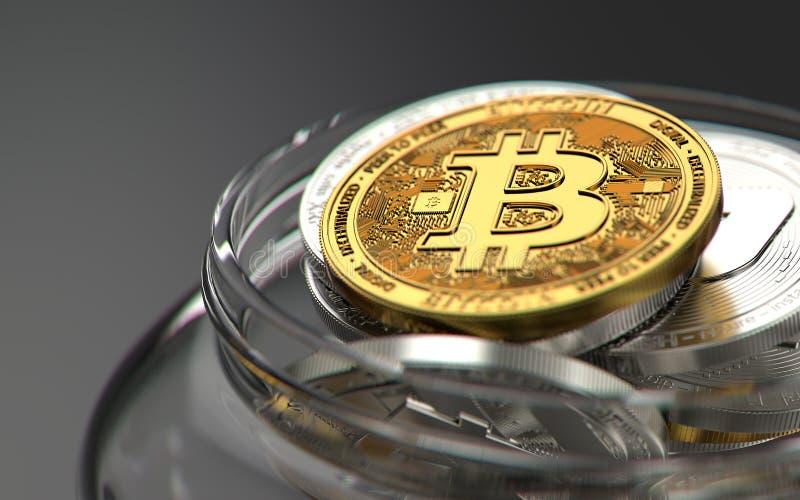 Το χρυσό bitcoin στην κορυφή του σωρού cryptocurrencies κράτησε σε ένα βάζο στο μουτζουρωμένο πυροβολισμό κινηματογραφήσεων σε πρ ελεύθερη απεικόνιση δικαιώματος