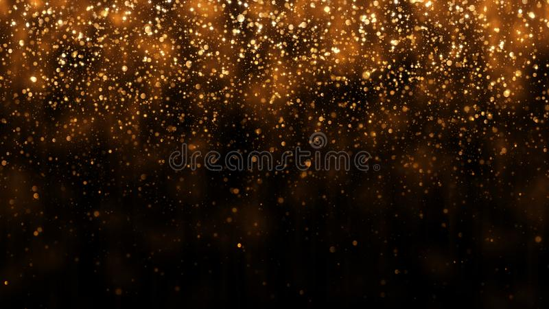 Το υπόβαθρο με χρυσό ακτινοβολεί μειωμένα μόρια Όμορφο πρότυπο υποβάθρου διακοπών για το σχέδιο ασφαλίστρου Μειωμένο χρυσό μόριο στοκ εικόνα