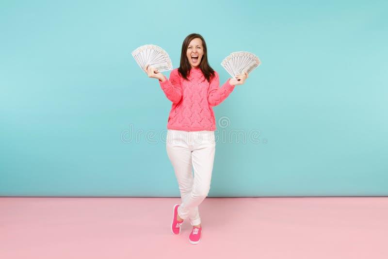 Το πλήρες πορτρέτο μήκους διέγειρε τη γυναίκα πλεκτός αυξήθηκε πουλόβερ, άσπρα εσώρουχα που κρατούν τα τραπεζογραμμάτια δολαρίων  στοκ εικόνες με δικαίωμα ελεύθερης χρήσης