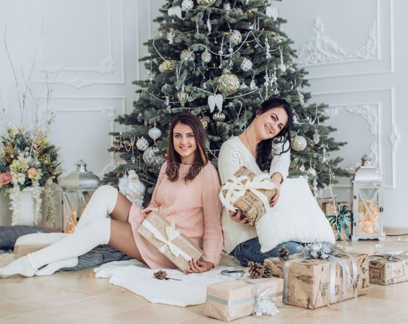 Το πορτρέτο δύο όμορφων νέων κοριτσιών είναι στα Χριστούγεννα στοκ εικόνες με δικαίωμα ελεύθερης χρήσης
