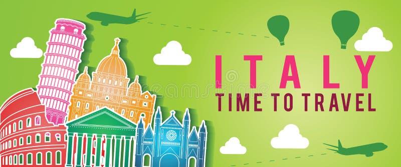 Το πράσινο έμβλημα ζωηρόχρωμου ύφους σκιαγραφιών ορόσημων της Ιταλίας του διάσημου, το αεροπλάνο και το μπαλόνι πετούν γύρω με το απεικόνιση αποθεμάτων