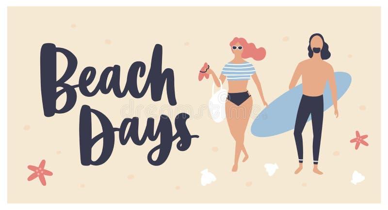 Το πρότυπο θερινών καρτών με τη γυναίκα έντυσε στη beachwear, surfer φέρνοντας ιστιοσανίδα και κείμενο ημερών παραλιών που γράφτη διανυσματική απεικόνιση