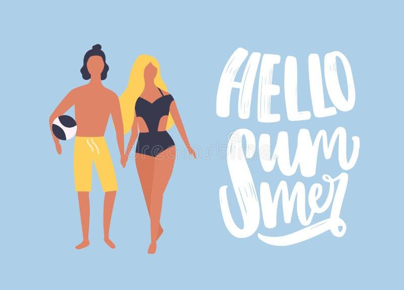 Το πρότυπο καρτών με τον άνδρα και τη γυναίκα έντυσε στα beachwear χέρια και το περπάτημα εκμετάλλευσης μαζί και γειά σου θερινή  ελεύθερη απεικόνιση δικαιώματος