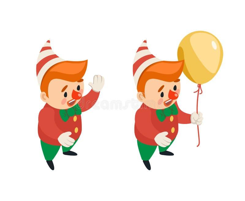Το Isometric ballon κλόουν καρναβαλιού διασκέδασης κομμάτων τσίρκων αστείο εικονίδιο χαρακτήρα απόδοσης απομόνωσε το τρισδιάστατο ελεύθερη απεικόνιση δικαιώματος