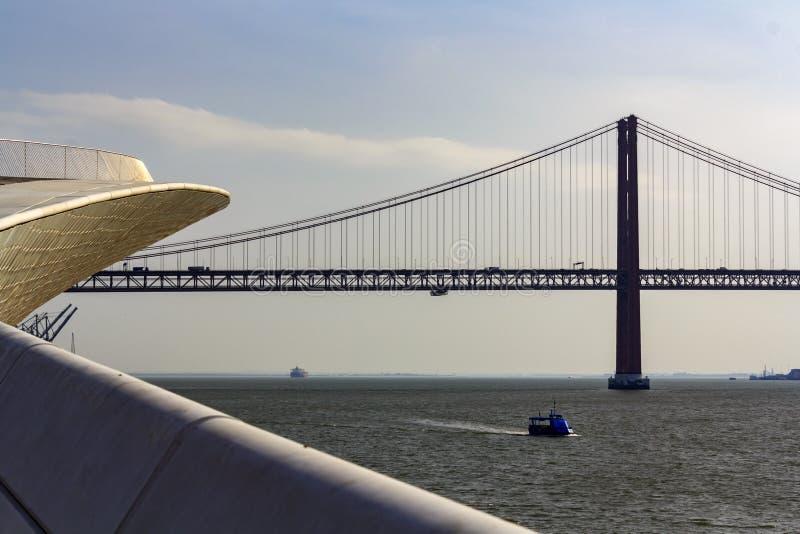 Το MAAT - το Μουσείο Τέχνης, η αρχιτεκτονική και η τεχνολογία με τον ποταμό και 25 Απριλίου tagus γεφυρώνουν στο υπόβαθρο στοκ εικόνες με δικαίωμα ελεύθερης χρήσης