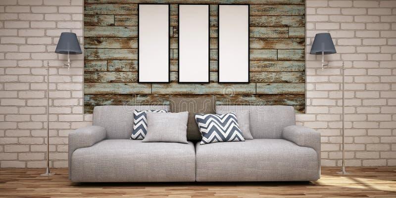 Τρία κενά πλαίσια στον ξύλινους τοίχο και τον καναπέ στο ανοικτό μπλε και γκρίζο χρώμα ελεύθερη απεικόνιση δικαιώματος