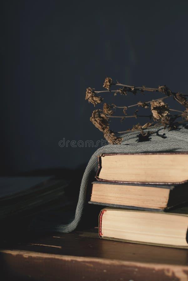Τρία παλαιά βιβλία που καλύπτονται με ένα ύφασμα με το ψέμα στον πίνακα ένα ξηρό λουλούδι στην κορυφή στοκ φωτογραφία με δικαίωμα ελεύθερης χρήσης