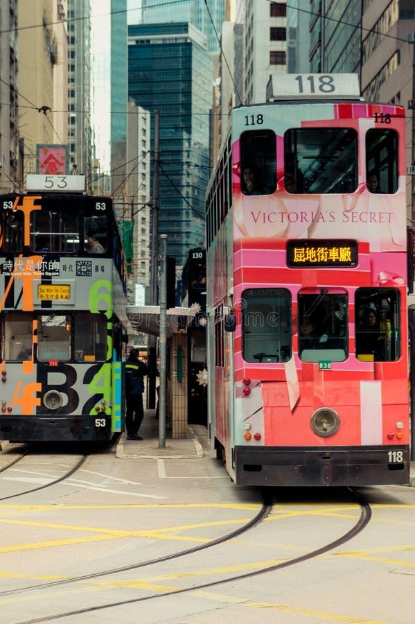 Τραμ του Χογκ Κογκ στο νησί Χονγκ Κονγκ στοκ εικόνες