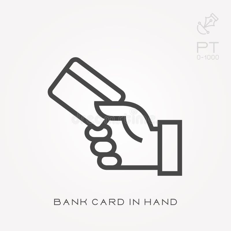 Τραπεζική κάρτα εικονιδίων γραμμών υπό εξέταση διανυσματική απεικόνιση