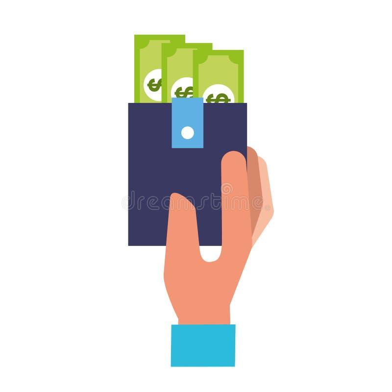 Τραπεζογραμμάτιο χρημάτων πορτοφολιών εκμετάλλευσης χεριών απεικόνιση αποθεμάτων