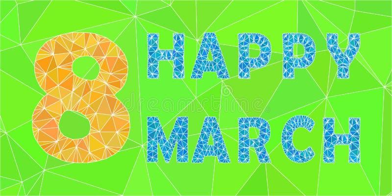 Τριγωνική κάρτα διακοπών επιστολών ημέρας των γυναικών Μαρτίου διανυσματική απεικόνιση