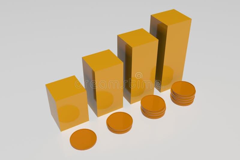 Τρισδιάστατα νομίσματα αύξησης φραγμών στοκ φωτογραφία με δικαίωμα ελεύθερης χρήσης