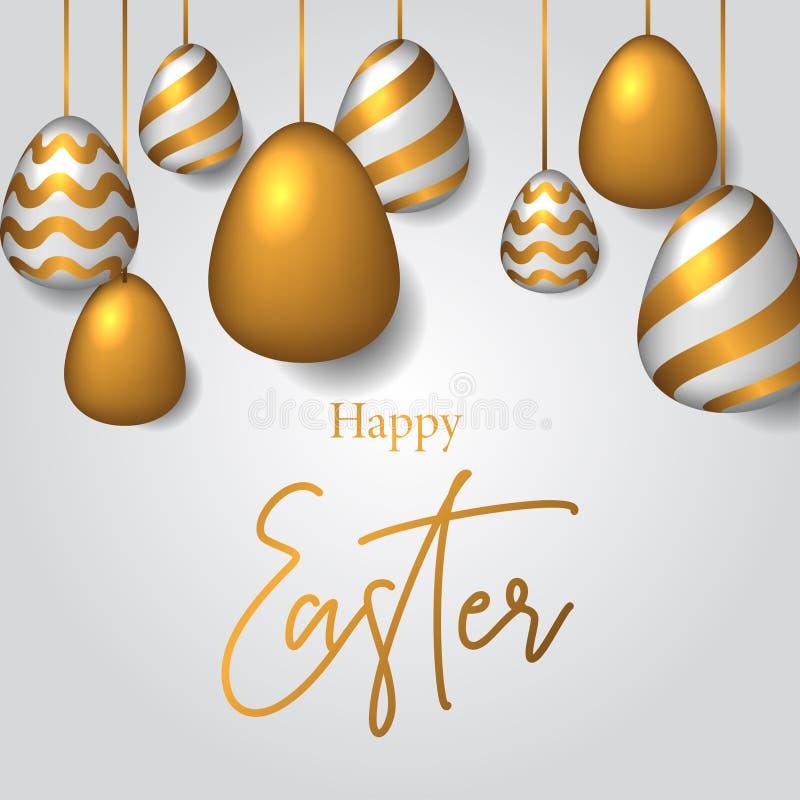 Τρισδιάστατη απεικόνιση αυγών Πάσχας προτύπων εμβλημάτων πολυτέλειας με τη χρυσή διακόσμηση χρώματος διανυσματική απεικόνιση