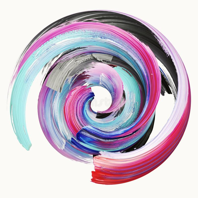 τρισδιάστατη απόδοση, αφηρημένο στριμμένο κτύπημα βουρτσών, παφλασμός χρωμάτων, splatter, ζωηρόχρωμος κύκλος, καλλιτεχνική σπειρο διανυσματική απεικόνιση