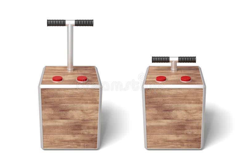 τρισδιάστατη απόδοση δύο ξύλινων κιβωτίων εκπυρσοκροτήρων στο άσπρο υπόβαθρο διανυσματική απεικόνιση