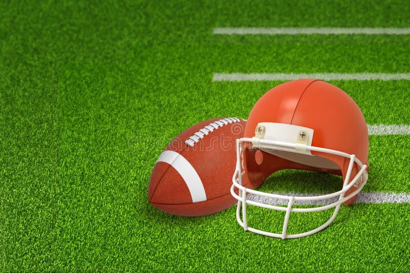 τρισδιάστατη απόδοση της σφαίρας και του κράνους αμερικανικού ποδοσφαίρου στο πράσινο υπόβαθρο τομέων ελεύθερη απεικόνιση δικαιώματος