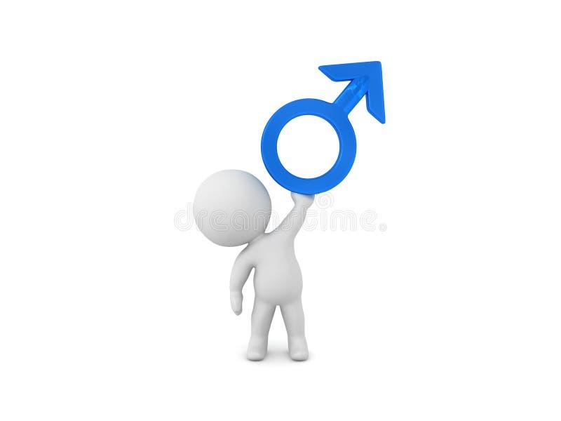 τρισδιάστατη απόδοση του αρσενικού symbo γένους απεικόνιση αποθεμάτων