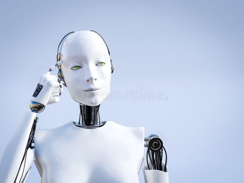 τρισδιάστατη απόδοση του θηλυκού ρομπότ που σκέφτεται για κάτι ελεύθερη απεικόνιση δικαιώματος