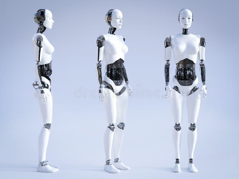 τρισδιάστατη απόδοση του θηλυκού ρομπότ που στέκεται, τρεις διαφορετικές γωνίες ελεύθερη απεικόνιση δικαιώματος