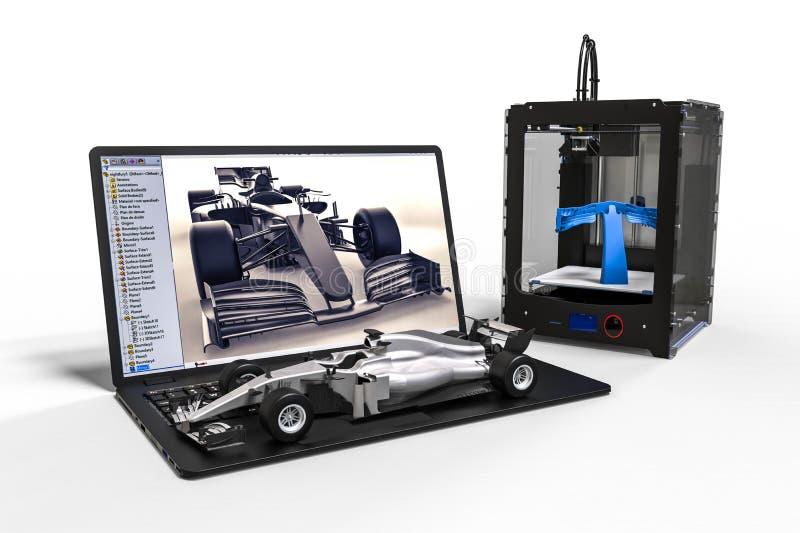 τρισδιάστατη εκτύπωση ενός αυτοκινήτου Formula 1 απεικόνιση αποθεμάτων