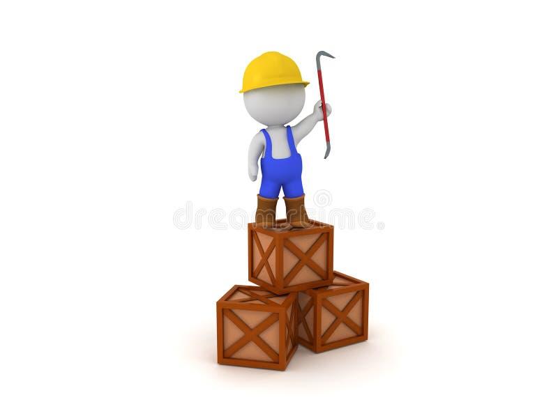 τρισδιάστατος εργαζόμενος που στέκεται πάνω από τα κλουβιά που κρατούν έναν λοστό διανυσματική απεικόνιση