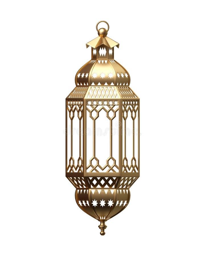 τρισδιάστατος δώστε, χρυσό φανάρι, μαγικός λαμπτήρας, φυλετική αραβική διακόσμηση, arabesque σχέδιο, ψηφιακή απεικόνιση, απομονωμ απεικόνιση αποθεμάτων