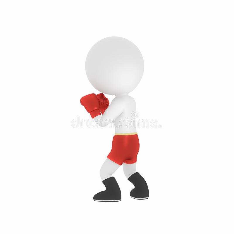 τρισδιάστατο άτομο με τα κόκκινα εγκιβωτίζοντας γάντια απεικόνιση αποθεμάτων