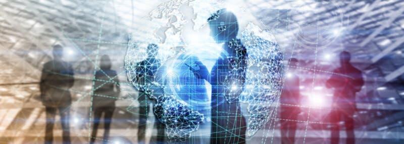 τρισδιάστατο γήινο ολόγραμμα, σφαίρα, WWW, παγκόσμιες επιχειρηματικό πεδίο και τηλεπικοινωνίες στοκ εικόνα με δικαίωμα ελεύθερης χρήσης