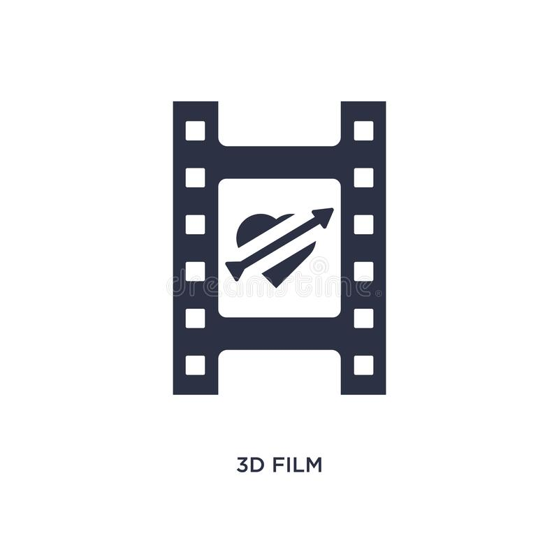 τρισδιάστατο εικονίδιο ταινιών στο άσπρο υπόβαθρο Απλή απεικόνιση στοιχείων από την έννοια αγάπης & γάμου ελεύθερη απεικόνιση δικαιώματος