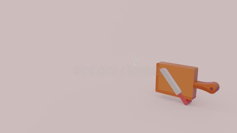 τρισδιάστατο εικονίδιο του μαχαιριού και breadboard διανυσματική απεικόνιση