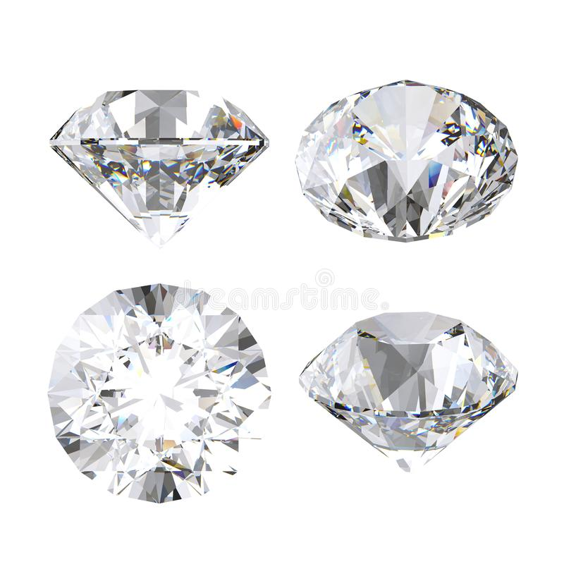 τρισδιάστατο σαφές διαμάντι, λαμπρός, πολύτιμος πολύτιμος λίθος, εικονίδιο κοσμημάτων, άποψη προοπτικής, σύνολο τέχνης συνδετήρων ελεύθερη απεικόνιση δικαιώματος