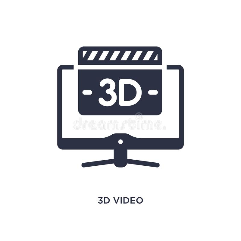 τρισδιάστατο τηλεοπτικό εικονίδιο στο άσπρο υπόβαθρο Απλή απεικόνιση στοιχείων από την έννοια κινηματογράφων ελεύθερη απεικόνιση δικαιώματος