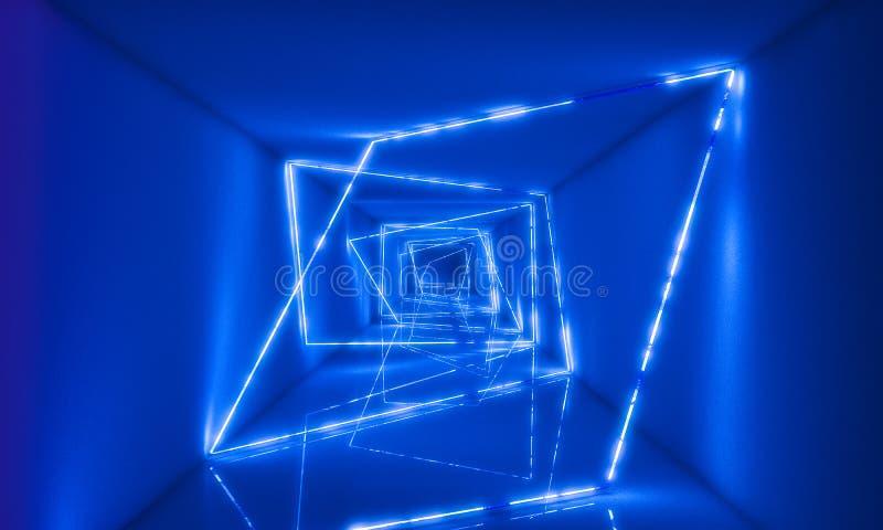 τρισδιάστατο φως neaon στη σήραγγα διανυσματική απεικόνιση