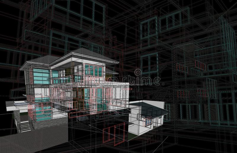 Τρισδιάστατο πλαίσιο καλωδίων προοπτικής έννοιας σχεδίου σπιτιών με το υλικό που δίνει στο μαύρο υπόβαθρο για το αφηρημένο επιχει διανυσματική απεικόνιση