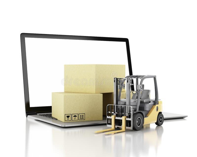 τρισδιάστατο Forklift φορτηγό με τα κουτιά από χαρτόνι και το PC lap-top απεικόνιση αποθεμάτων