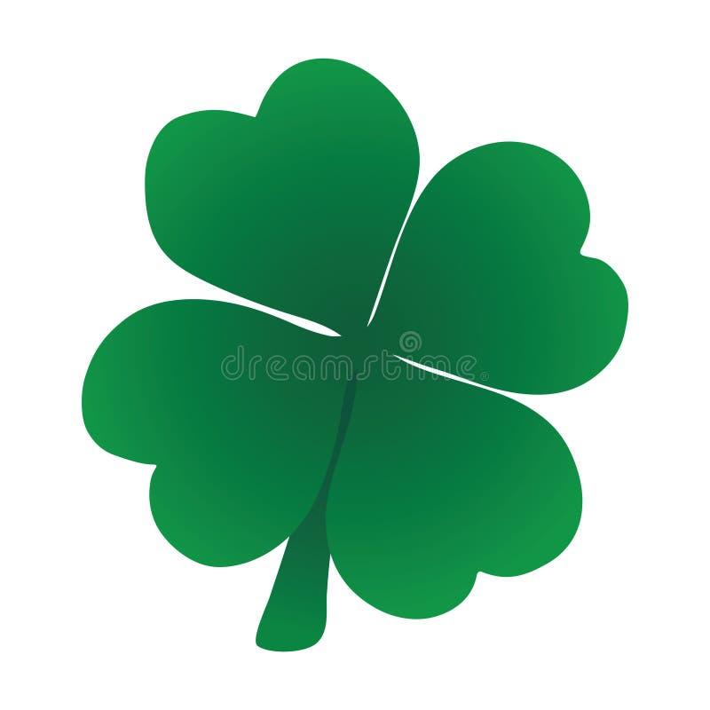 Τριφύλλι τέσσερα διανυσματικό πράσινο εικονίδιο φύλλων στην άσπρη πλάτη διανυσματική απεικόνιση