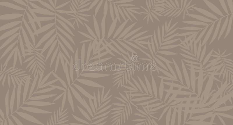 Τροπικό καφετί υπόβαθρο σχεδίων φύλλων Αφίσα/πρότυπο απεικόνιση αποθεμάτων