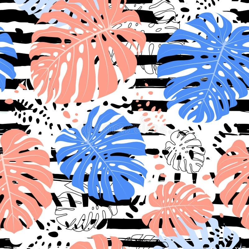 Τροπικό ριγωτό άνευ ραφής σχέδιο φύλλων, φύλλο Monstera Θερινή τροπική ανασκόπηση, διανυσματική απεικόνιση απεικόνιση αποθεμάτων