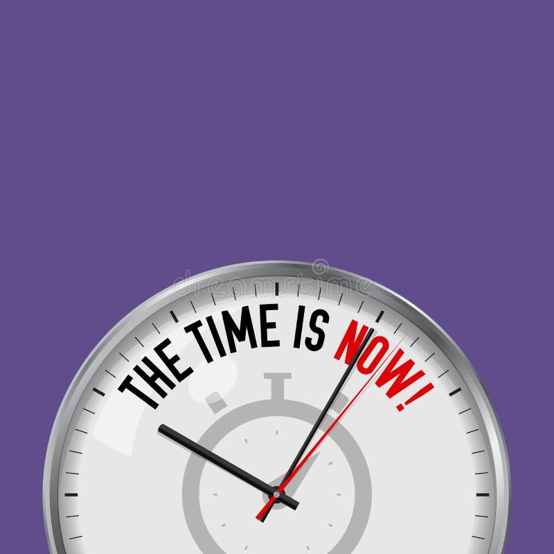 τώρα χρόνος Άσπρο διανυσματικό ρολόι με το κινητήριο σύνθημα Αναλογικό ρολόι μετάλλων με το γυαλί Εικονίδιο χρονομέτρων με διακόπ απεικόνιση αποθεμάτων