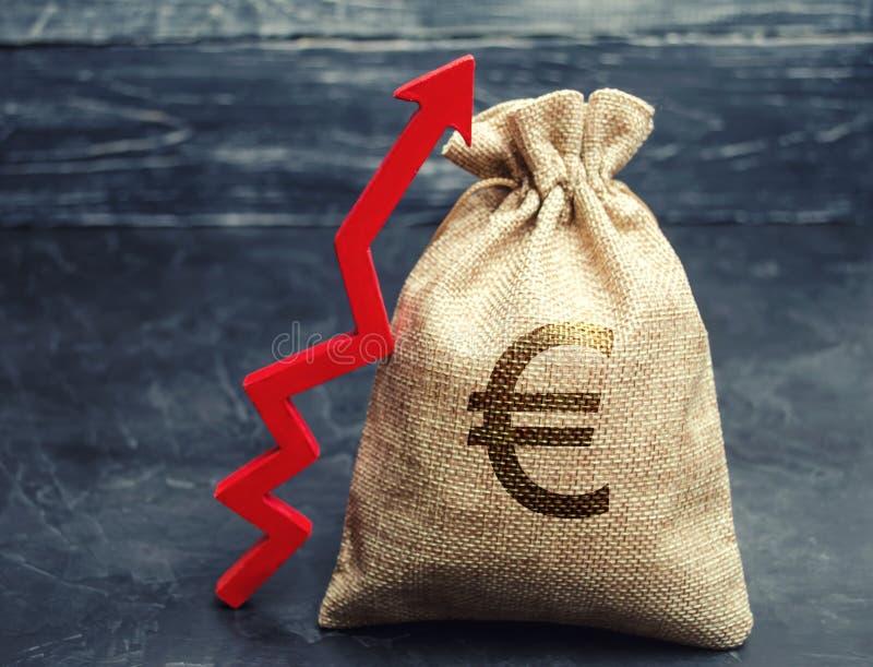 Τσάντα χρημάτων με ένα ευρο- σημάδι και ένα κόκκινο ανοδικό βέλος Η έννοια της επιχείρησης και της χρηματοδότησης Αύξηση κέρδους  στοκ εικόνα με δικαίωμα ελεύθερης χρήσης