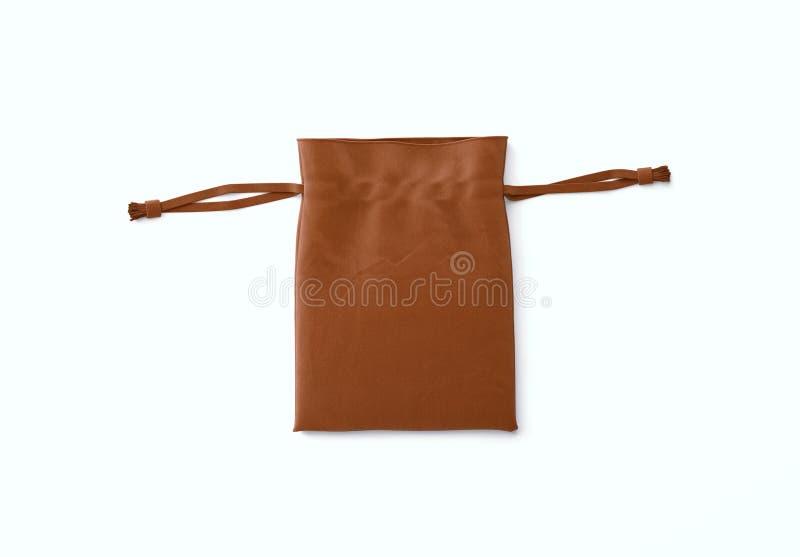 Τσάντα Drawstring στο υπόβαθρο Μικρή τσάντα βαμβακιού υφάσματος Απομονωμένη σακούλα στοκ εικόνα με δικαίωμα ελεύθερης χρήσης