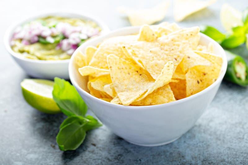 Τσιπ καλαμποκιού με το guacamole στοκ φωτογραφία με δικαίωμα ελεύθερης χρήσης