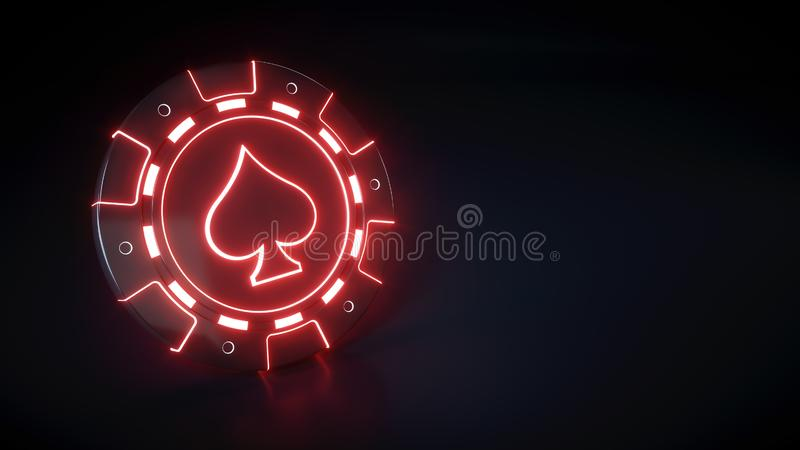 Τσιπ χαρτοπαικτικών λεσχών με το καμμένος σύμβολο κόκκινων φώτων και φτυαριών νέου που απομονώνεται στο μαύρο υπόβαθρο - τρισδιάσ απεικόνιση αποθεμάτων