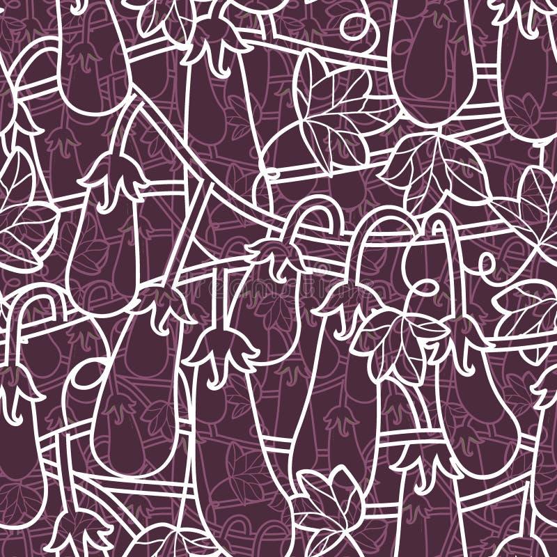 Τυχαίο άνευ ραφής σχέδιο με τα χορτοφάγα τρόφιμα - μελιτζάνες απομονωμένος στο υπόβαθρο για την εκτύπωση, ιστοχώρος ταπετσαριών διανυσματική απεικόνιση