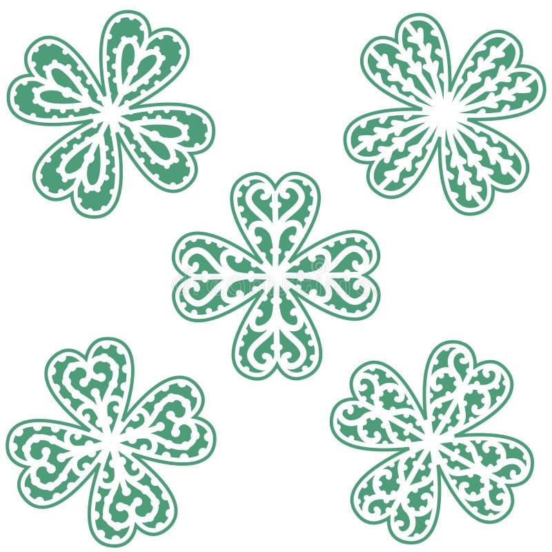 Τυχερό πράσινο τριφύλλι τεσσάρων τριφυλλιών φύλλων ελεύθερη απεικόνιση δικαιώματος