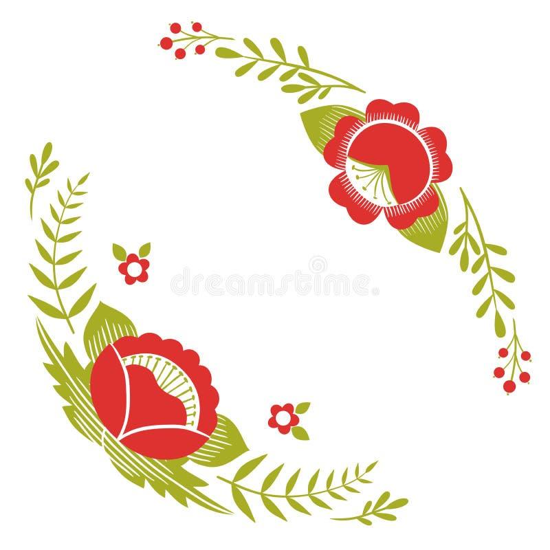 Τυποποιημένο σχέδιο, λαϊκή τέχνη, floral διακόσμηση στα κόκκινα και πράσινα χρώματα Συμμετρικό διανυσματικό υπόβαθρο σχεδίων ελεύθερη απεικόνιση δικαιώματος