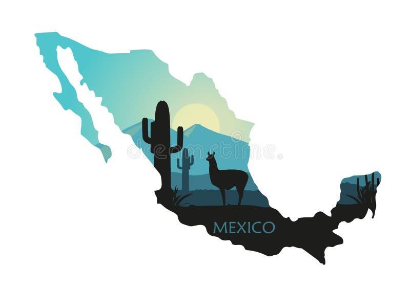Τυποποιημένο τοπίο του Μεξικού με llama και των κάκτων υπό μορφή χάρτη του Μεξικού απεικόνιση αποθεμάτων