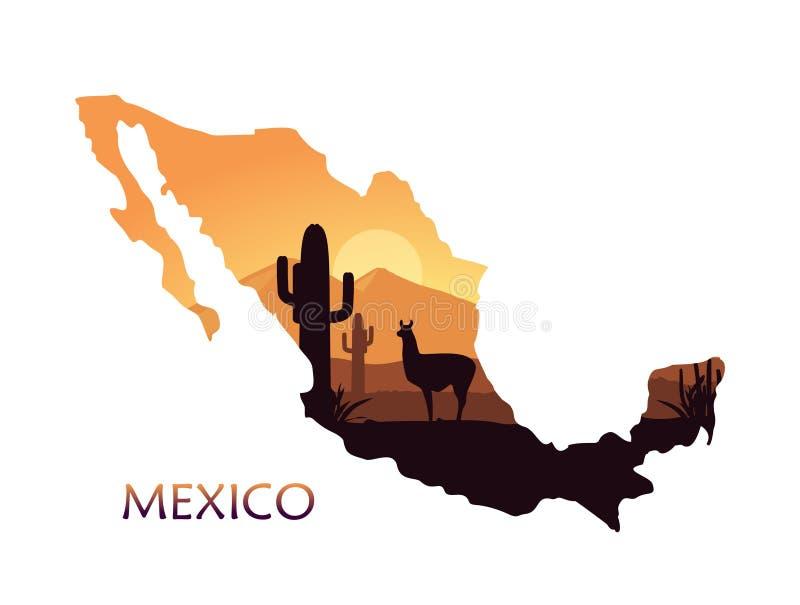 Τυποποιημένο τοπίο του Μεξικού με llama και των κάκτων υπό μορφή χάρτη του Μεξικού διανυσματική απεικόνιση