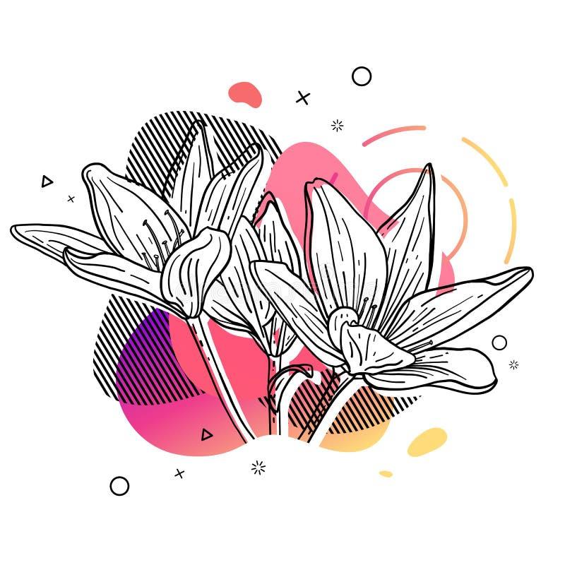 Τυπωμένη ύλη σχεδίου προτύπων με τη γραμμή λουλουδιών Αφίσα με τη σύγχρονη αφηρημένη μορφή κλίσης με το άνθος κρίνων Απεικόνιση γ ελεύθερη απεικόνιση δικαιώματος
